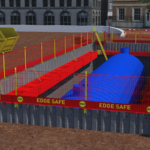 Animation of MGF Edgesafe surrounding a T700 and large blue pipe in the ground