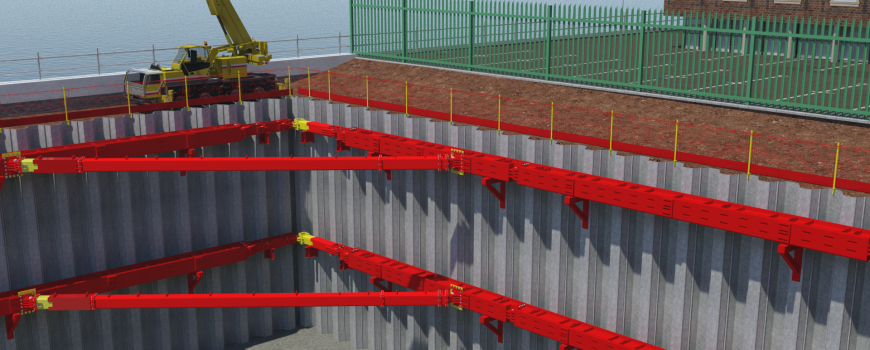 Animation of red MGF T700 Brace installed at an excavation