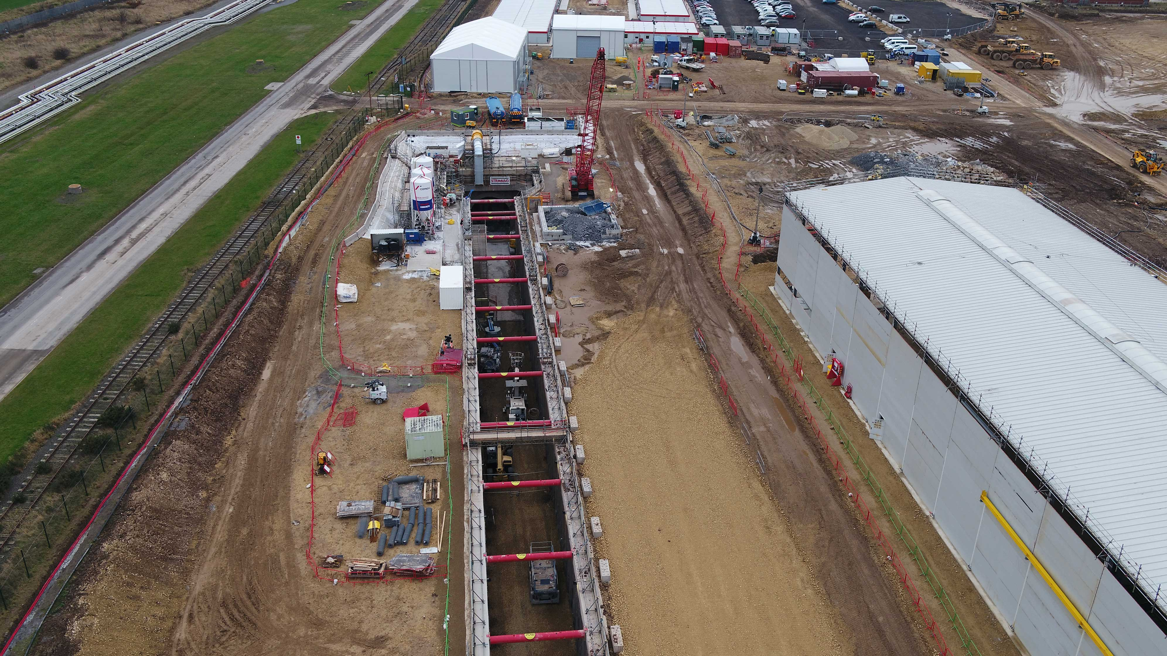 Aerial photo of large excavation in the shape of a tunnel
