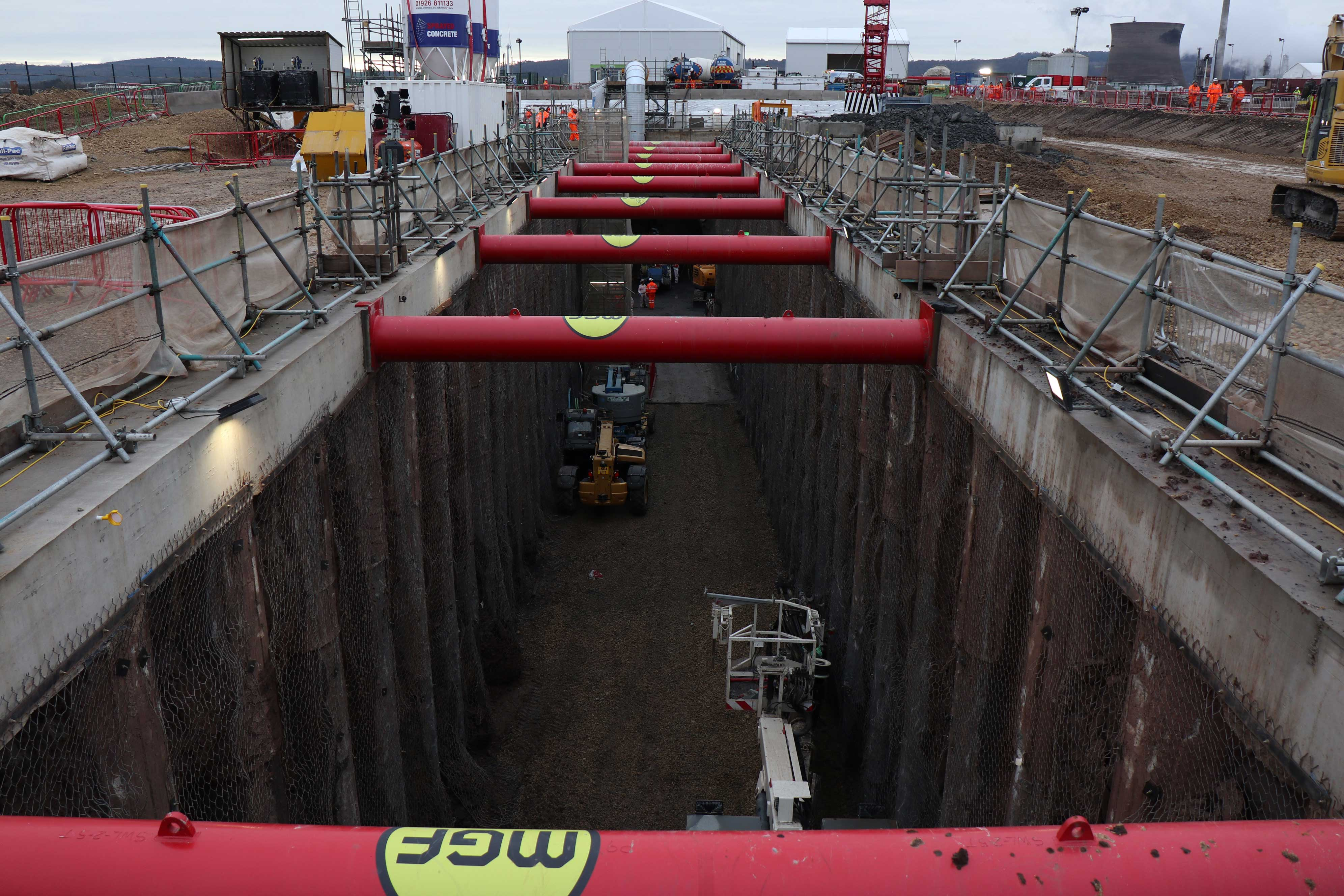 Front view of underground tunnel being used in excavation on work site