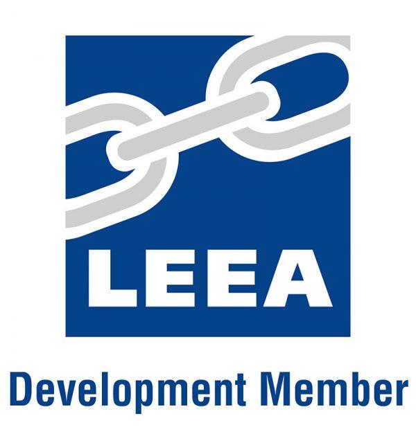 Blue LEEA logo for Development Member on a white background
