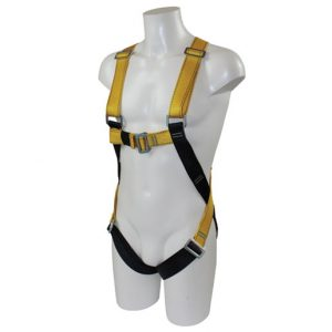Mannequin wearing a safety harness