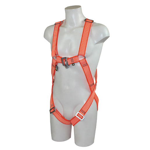 Male mannequin wearing a safety harness