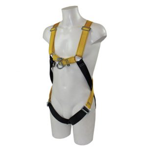 Male mannequin wearing a safety harness on a white background