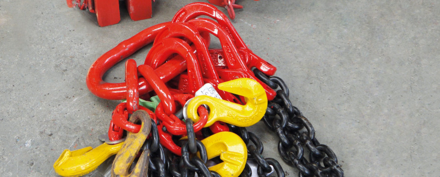 Heavy duty chains on the floor of a warehouse