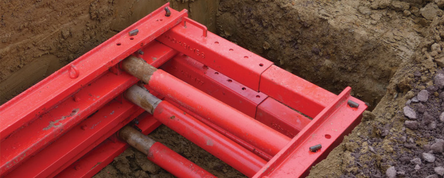 Red MGF endsafe struts in the ground