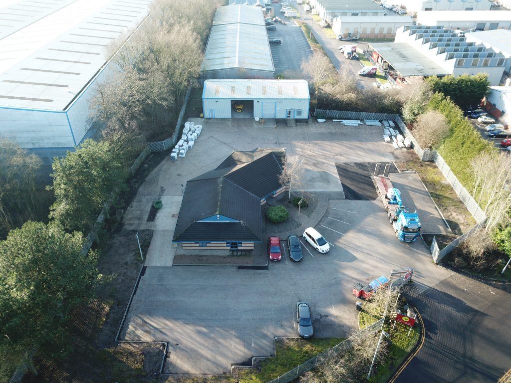 Aerial shot of MGF Warrington depot