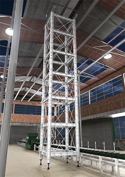Image of support towers inside a building