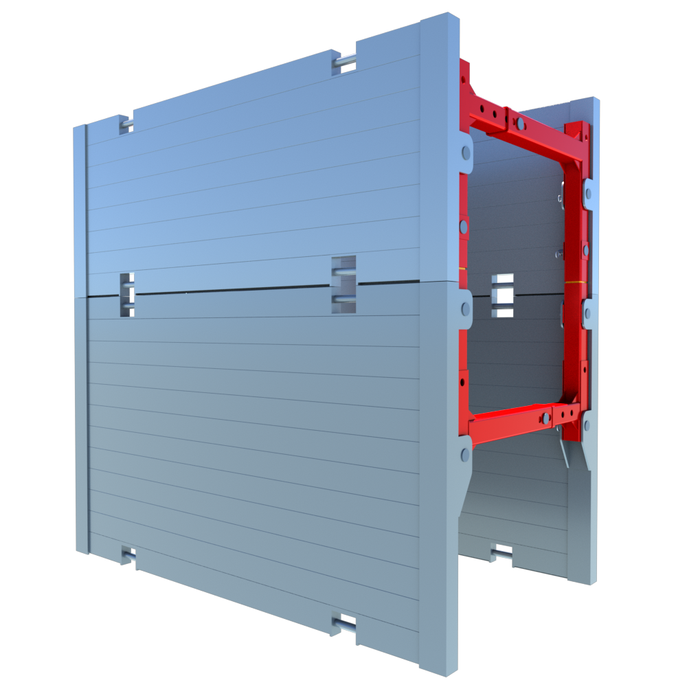 Side view of a Aluminium Trench Box render