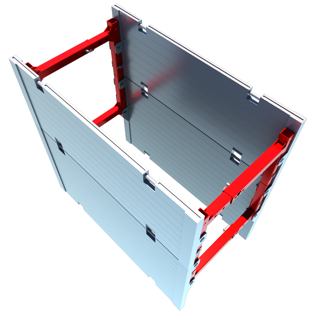 Above view of a Aluminium Trench Box render animation