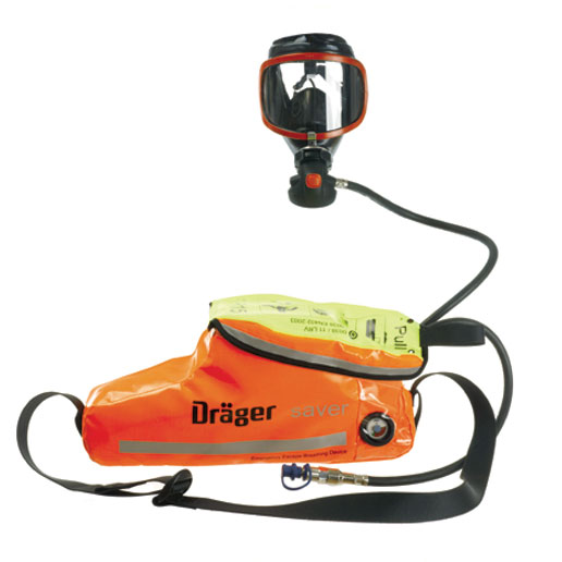 Drager emergency breathing equipment with face mask