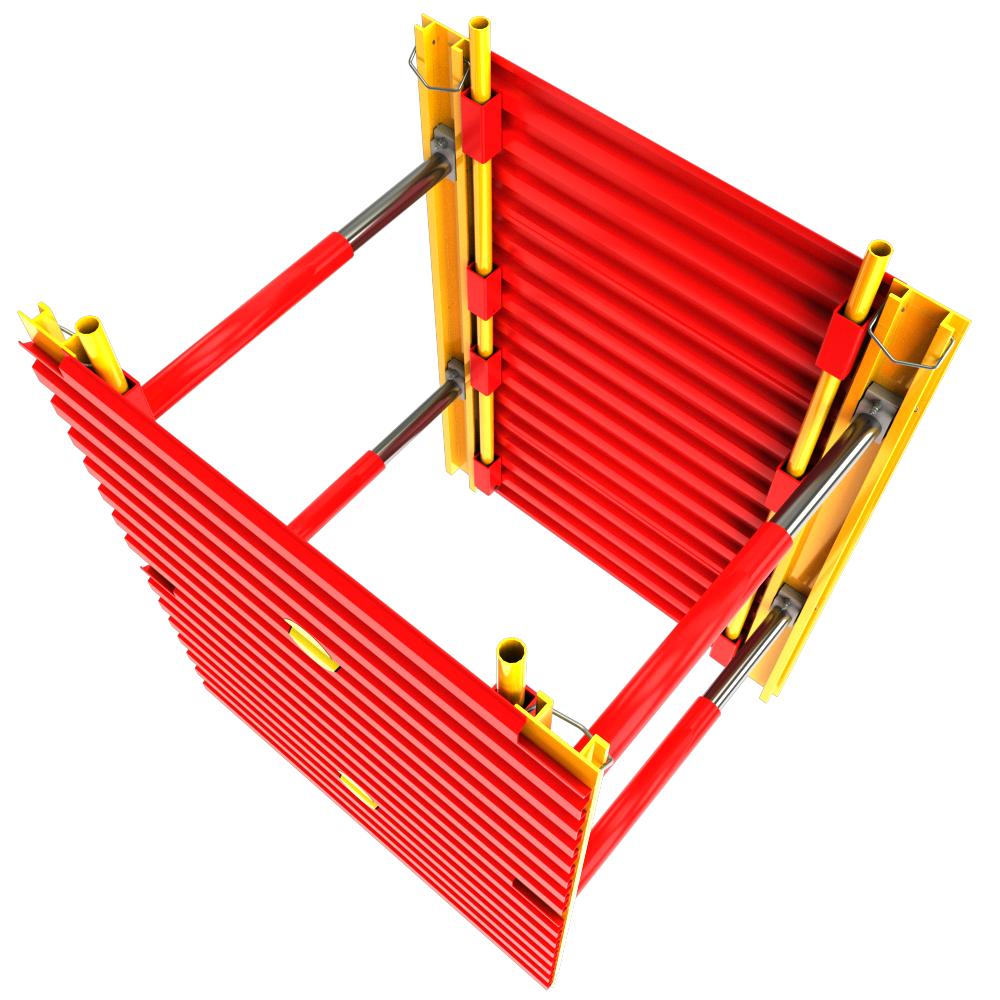View of a GRP Modular Trench Box animation from above