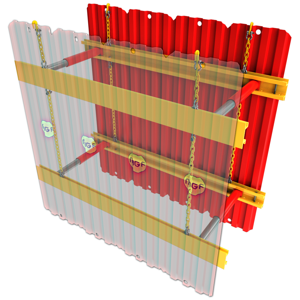 3D animation of the inside of a GRP Sheets & Walers installation