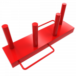 red rectangular plate of steel with 4 upright poles