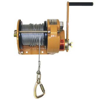 yellow winch with turn handle