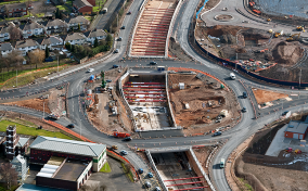 Aerial shot of an excavation on the A41