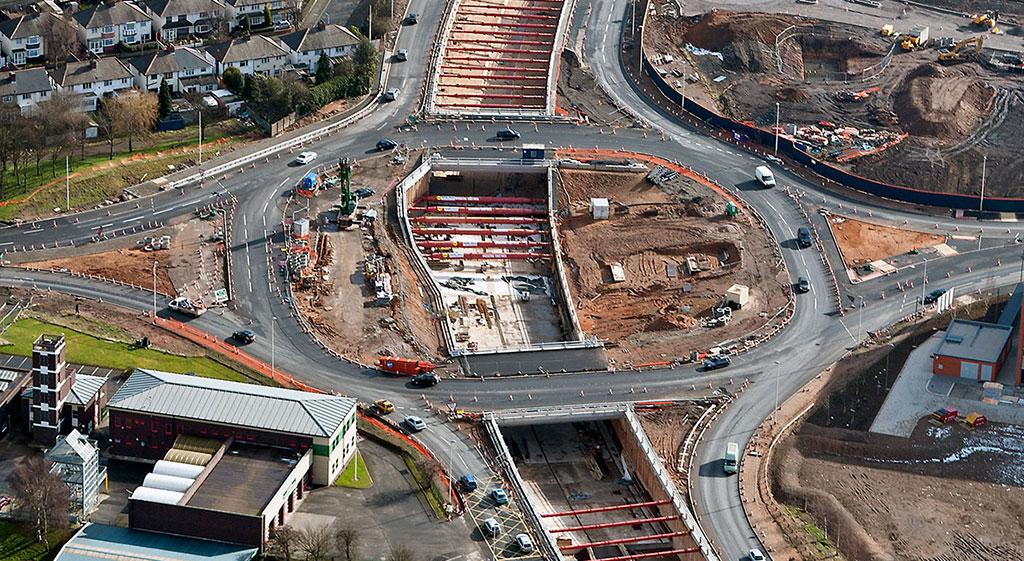 Aerial shot of motorway under construction
