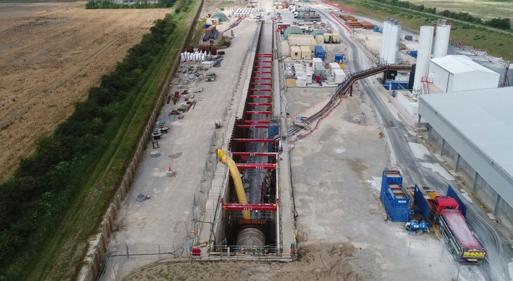 Drone image of River Humber long excavation