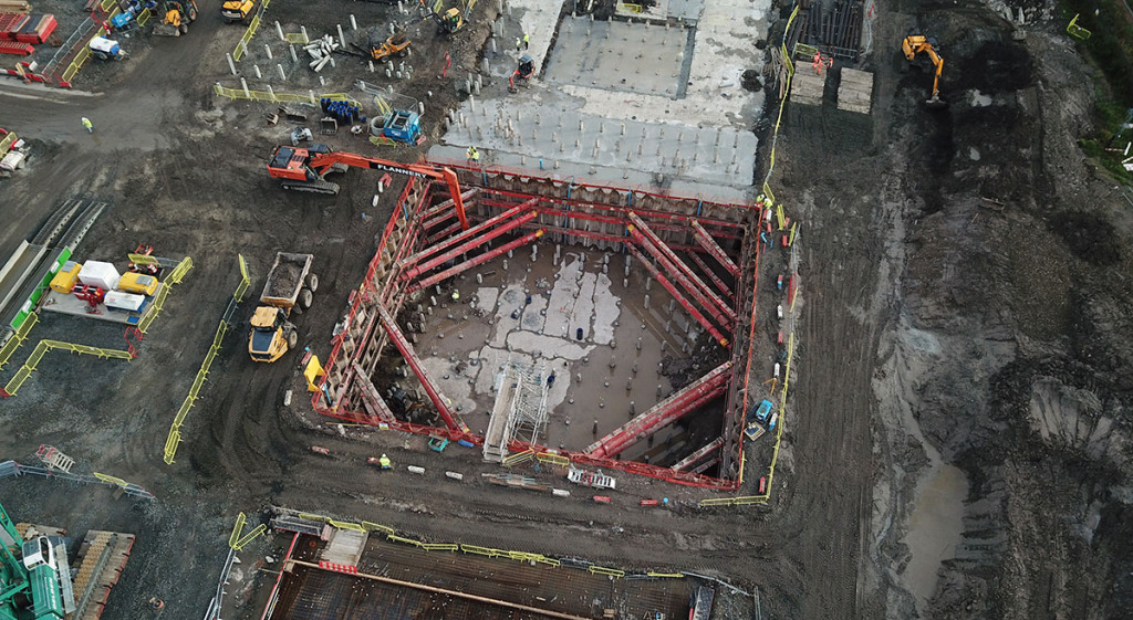 Aerial shot of Earls Gate Energy Centre excavation