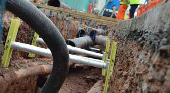 Close look at Vertishore products set up in a trench