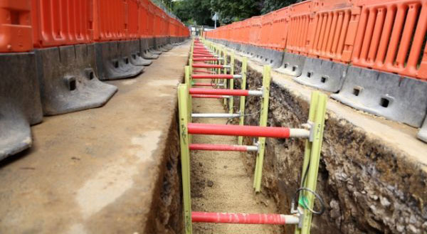 MGF Gripshore products installed in a small trench