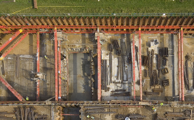 Drone image of Hornsey Water Treatment excavation