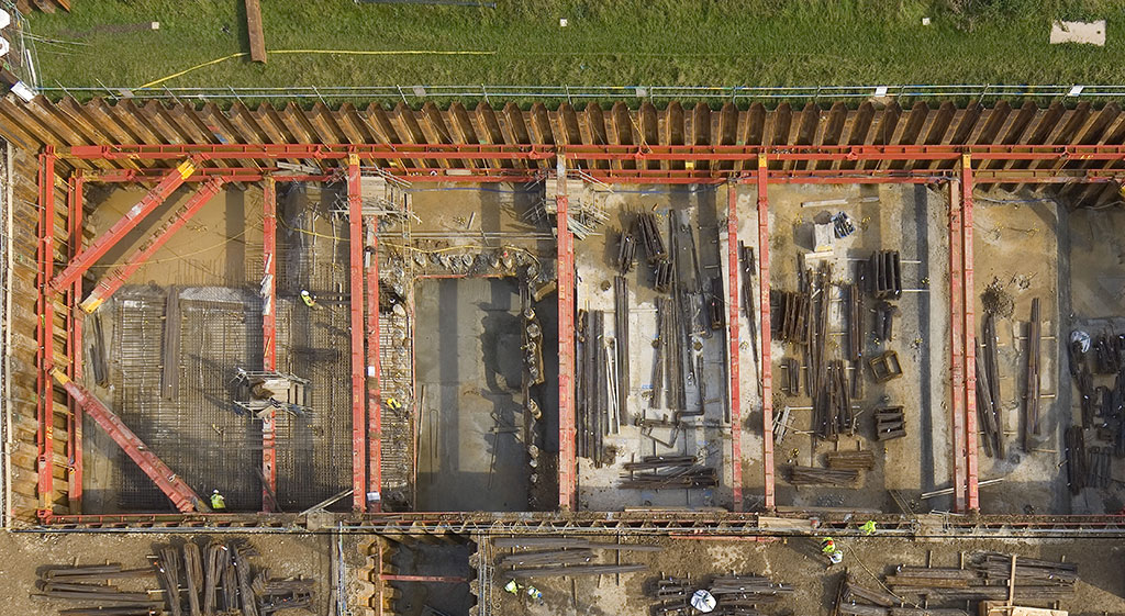 Drone image of Hprnsey Water Treatment excavation