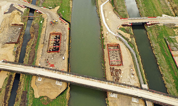 Aerial shot of Lincoln Eastern Bypass excavations
