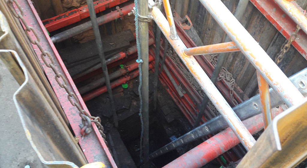 Image looking into a deep excavation