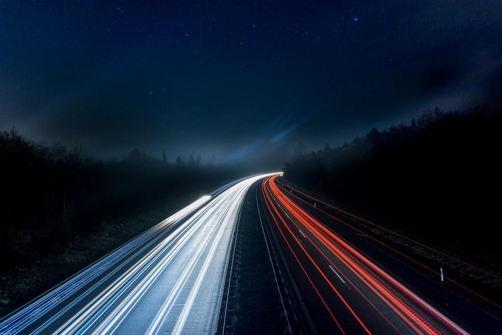 Stylised image of motorway trail lights