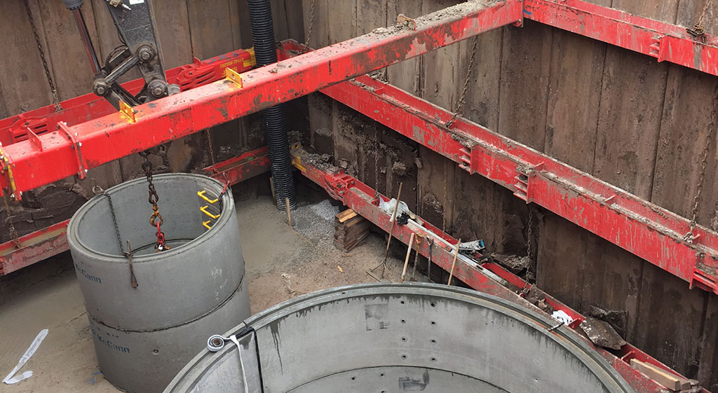 MGF red equipment installed in an excavation