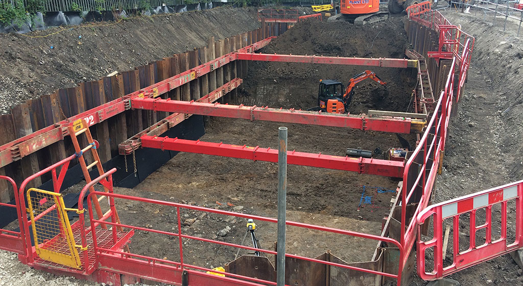 Above shot of MGF kit installed in an excavation