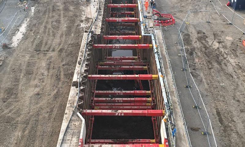 Aerial shot of River Humber excavation