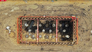 Drone shot of excavation using MGF kit