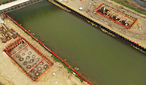 Aerial shot of two Lincoln Bypass excavations
