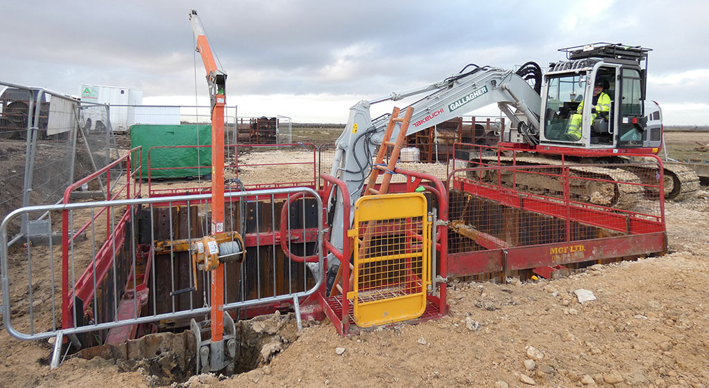 Image of an excavation installed with MGF products