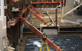 MGF equipment used diagonally to prop from wall to floor