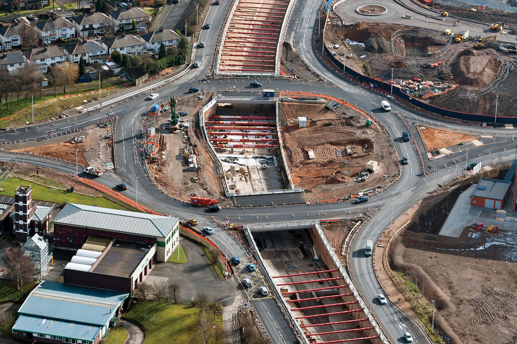 Aerial shot of a transport sector excavation