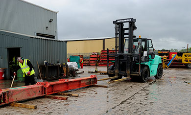 Forklift in MGF depot yard