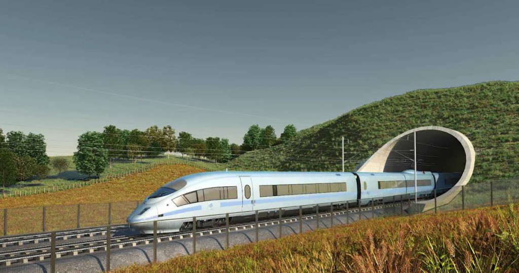 HS2 train coming out of a tunnel