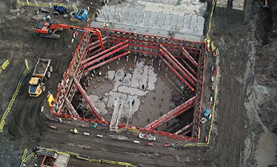 Aerial image of MGF kit installed in an excavation