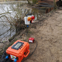 MGF Ground Vibration Monitoring unit by a lake