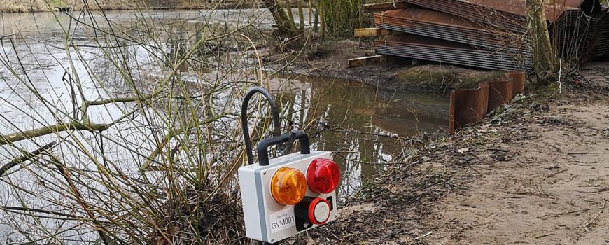 MGF Ground Vibration Monitoring unit by a lake